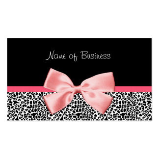 Trendy Black And White Leopard Print Pink Ribbon Double-Sided Standard Business Cards (Pack Of 100)