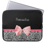 Trendy Black And White Leopard Print Pink Ribbon Laptop Sleeve