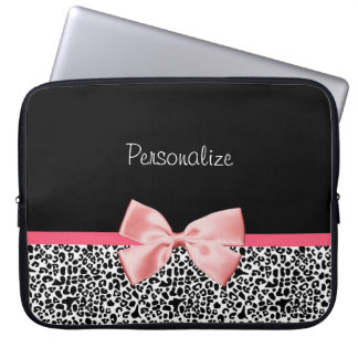 Trendy Black And White Leopard Print Pink Ribbon Laptop Sleeve