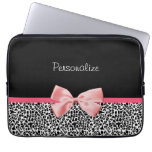 Trendy Black And White Leopard Print Pink Ribbon Laptop Computer Sleeve