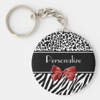 Trendy Black And White Leopard Zebra Print Red Bow Basic Round Button Keychain