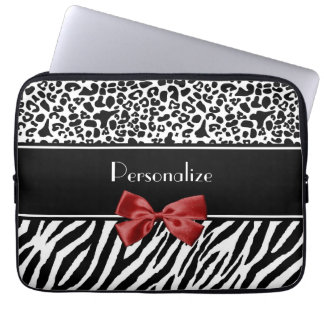 Trendy Black And White Leopard Zebra Print Red Bow Laptop Sleeve