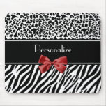 Trendy Black And White Leopard Zebra Print Red Bow Mouse Pad