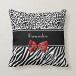 Trendy Black And White Leopard Zebra Print Red Bow Throw Pillows