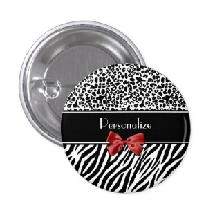 Trendy Black And White Leopard Zebra Print Red Bow Pinback Button