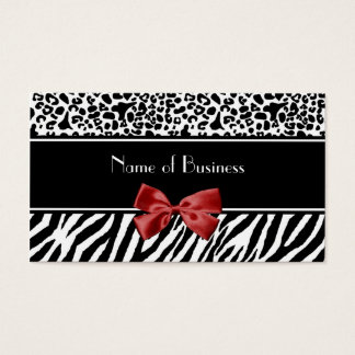Trendy Black And White Leopard Zebra Red Ribbon Business Card