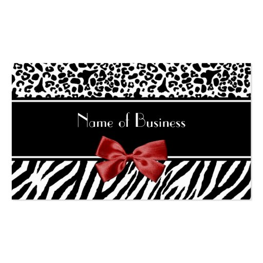 Trendy Black And White Leopard Zebra Red Ribbon Business Card Templates