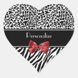 Trendy Black And White Leopard Zebra Red Ribbon Heart Sticker