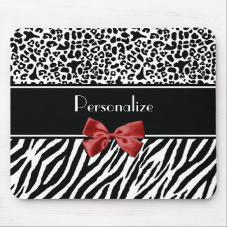 Trendy Black And White Leopard Zebra Red Ribbon Mouse Pads