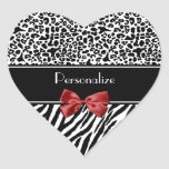 Trendy Black And White Leopard Zebra Red Ribbon Stickers