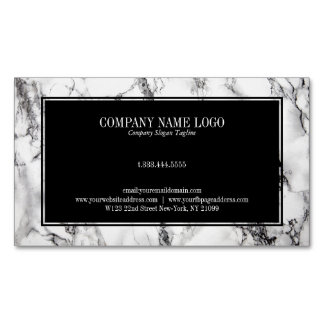 Trendy Black And White Marble Stone Pattern Magnetic Business Card