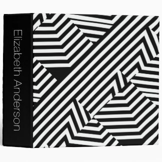 Trendy Black and White Modern Stripes With Name 3 Ring Binder