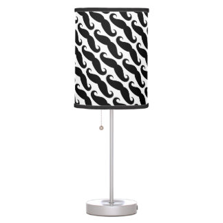 Trendy black and white mustache pattern lamps