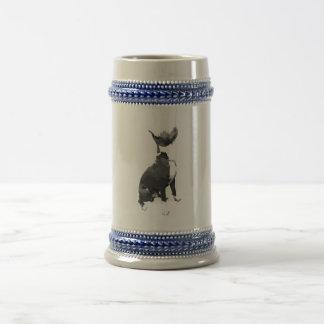 Trendy black and white Pit Bull dog Beer Stein
