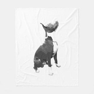 Trendy black and white Pit Bull dog Fleece Blanket