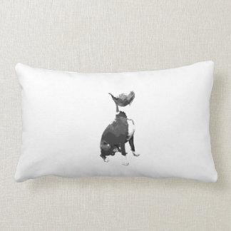 Trendy black and white Pit Bull dog Lumbar Pillow