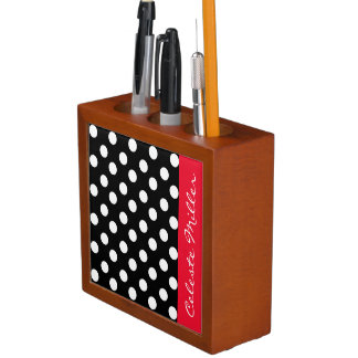Black And White Polka Dots Desk Organizer Zazzle
