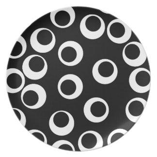Trendy black and white retro design. plate