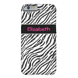 Trendy Black and White Tiger Stripes Pink Name Barely There iPhone 6 Case