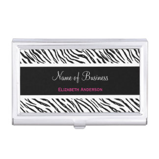 Trendy Black and White Tiger Stripes Pink Name Case For Business Cards