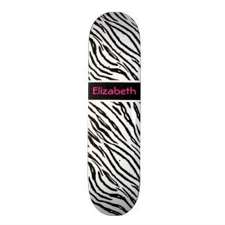 Trendy Black and White Tiger Stripes Pink Name Custom Skateboard