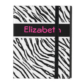 Trendy Black and White Tiger Stripes Pink Name iPad Cases