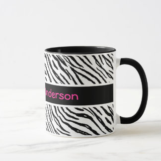 Trendy Black and White Tiger Stripes Pink Name Mug