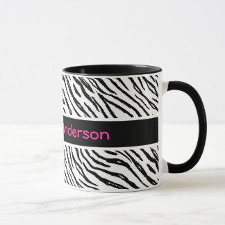 Trendy Black and White Tiger Stripes Pink Name Mug