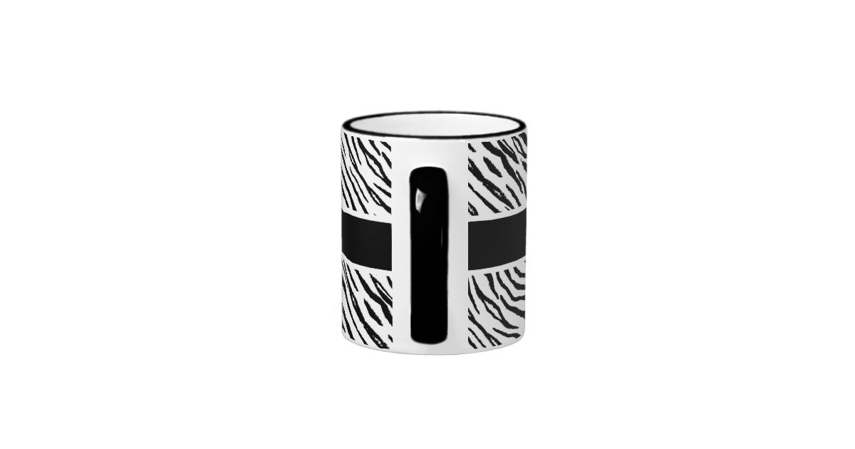 Trendy black and white tiger stripes pink name ringer mug - Tiger stripes black and white ...