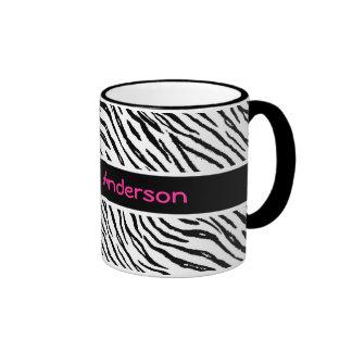 Trendy Black and White Tiger Stripes Pink Name Ringer Mug