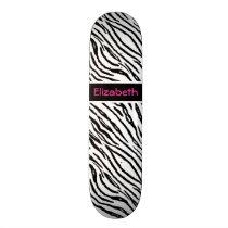 Trendy Black and White Tiger Stripes Pink Name Skateboard Deck