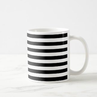 Trendy Black and White Wide Horizontal Stripes Coffee Mug