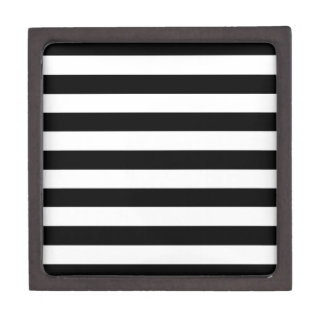 Trendy Black and White Wide Horizontal Stripes Gift Box