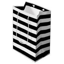 Trendy Black and White Wide Horizontal Stripes Medium Gift Bag