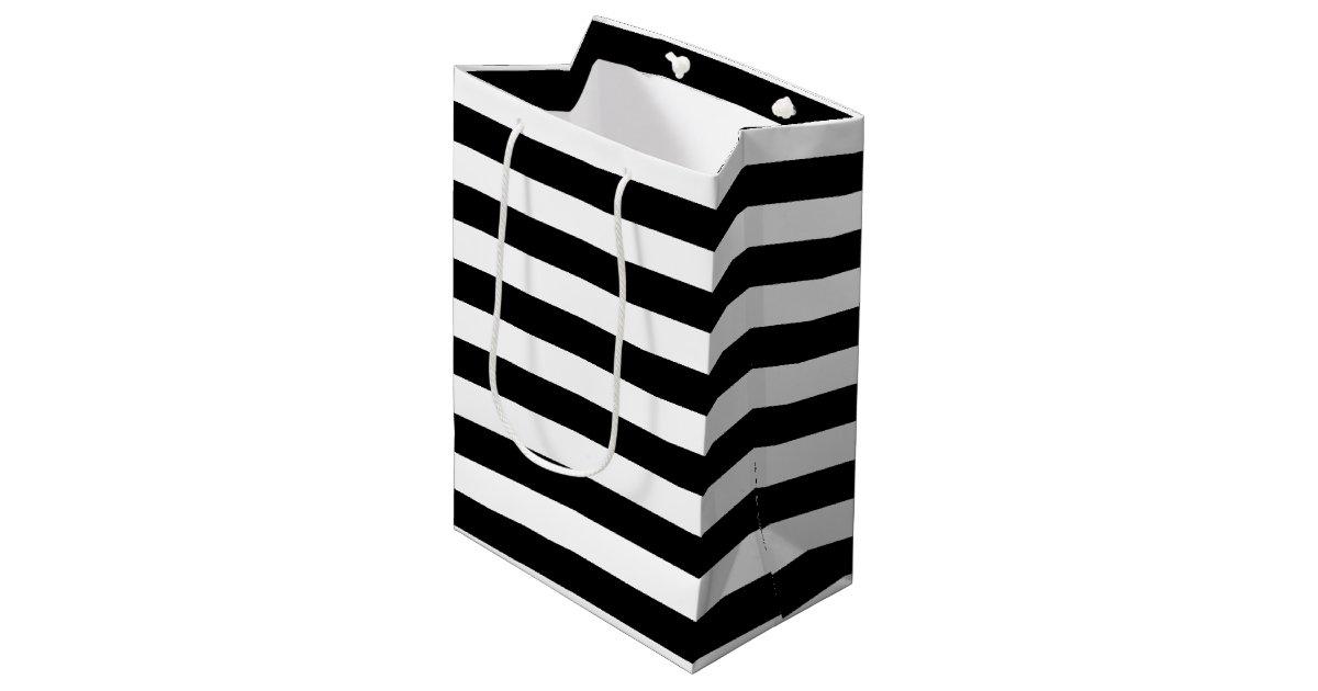 Trendy Black and White Wide Horizontal Stripes Medium Gift ...