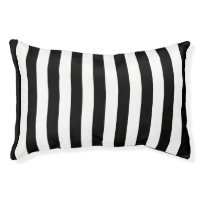 Trendy Black and White Wide Horizontal Stripes Pet Bed