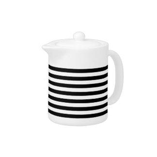 Trendy Black and White Wide Horizontal Stripes Teapot