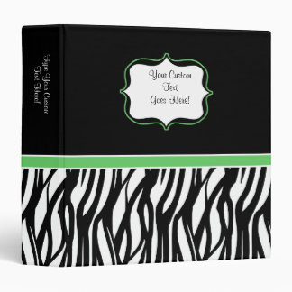 Trendy Black and White with Lime Zebra Binder