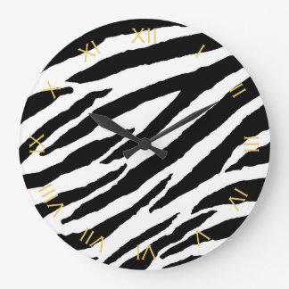 Trendy Black And White Zebra Animal Pattern Large Clock