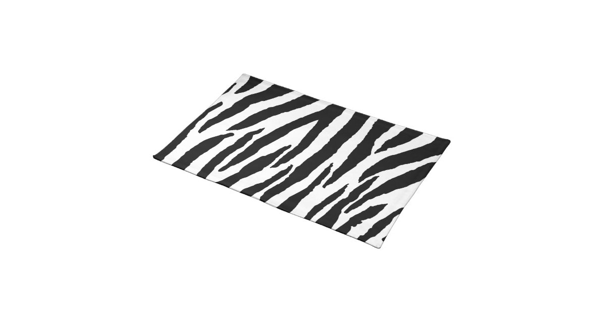 Trendy Black And White Zebra Pattern Cloth Placemat Zazzle
