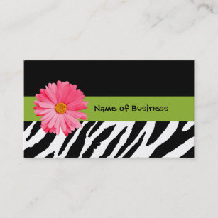 Zebra print business cards templates zazzle trendy black and white zebra print pink daisy business card reheart Choice Image