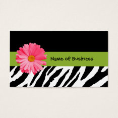 Trendy Black And White Zebra Print Pink Daisy Business Card at Zazzle