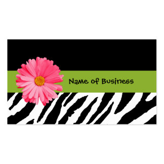Trendy Black And White Zebra Print Pink Daisy Double-Sided Standard Business Cards (Pack Of 100)