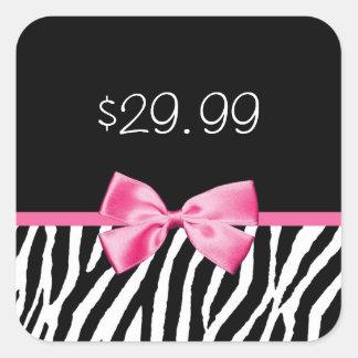 Trendy Black and White Zebra Print Pink Price Tag Square Sticker