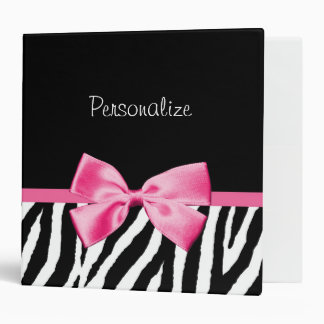 Trendy Black And White Zebra Print Pink Ribbon 3 Ring Binder
