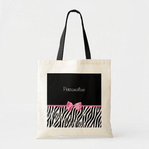 Trendy Black And White Zebra Print Pink Ribbon Bag