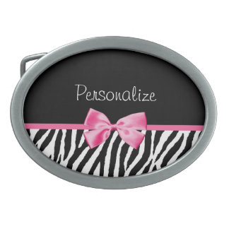 Trendy Black And White Zebra Print Pink Ribbon Oval Belt Buckle