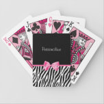 "Trendy Black And White Zebra Print Pink Ribbon Bicycle Playing Cards<br><div class=""desc"">A trendy black and white zebra print pattern playing cards with a cute pink ribbon bow wrapped like a present. Personalize by adding your name. Perfect present for a teen girly girl!</div>"