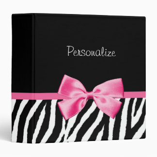 Trendy Black And White Zebra Print Pink Ribbon Binder