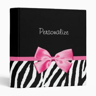 Trendy Black And White Zebra Print Pink Ribbon Binder